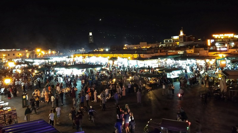 Marrakech Square at night - a sea of street-food stalls - all gone in the morning