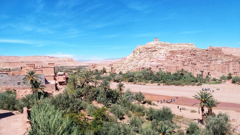 View from Ouarzazate over old town with a lookout hut at the top of the hill