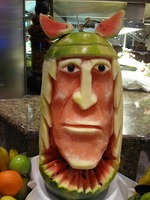 Carved from a watermelon
