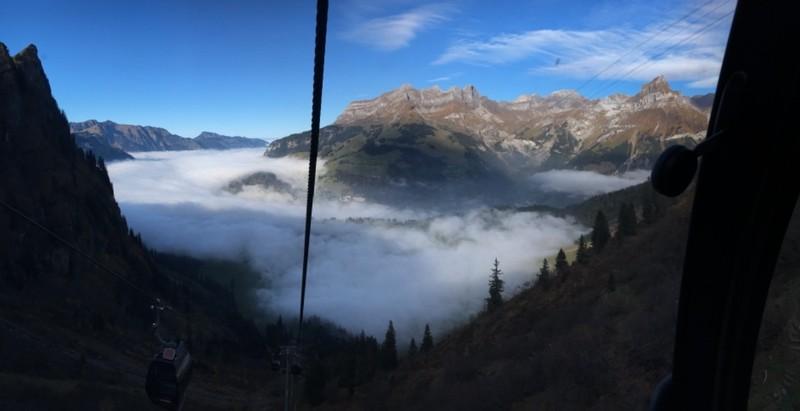 Gondola back down into the cloud