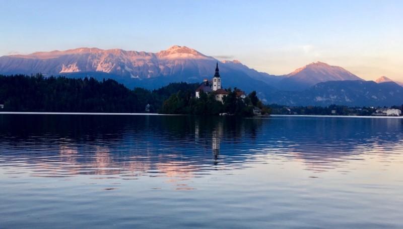The sun sets at Lake Bled