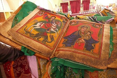 Ancient holy book in new cathedral