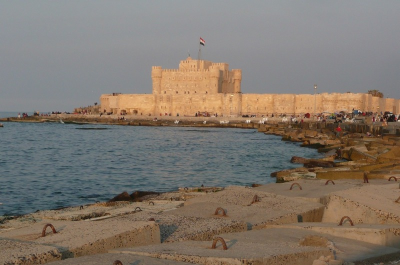 The fort from a distance at sunset
