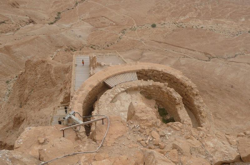 Looking down at Herod's castle