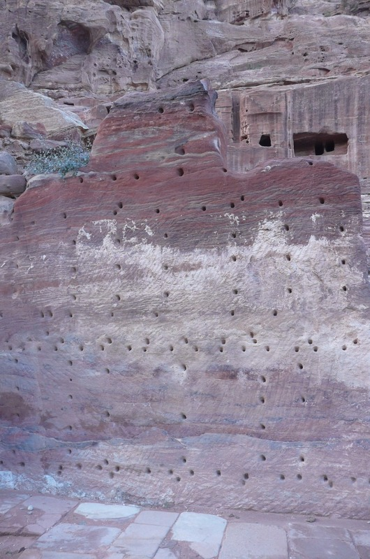The holes are where marble used to be attached