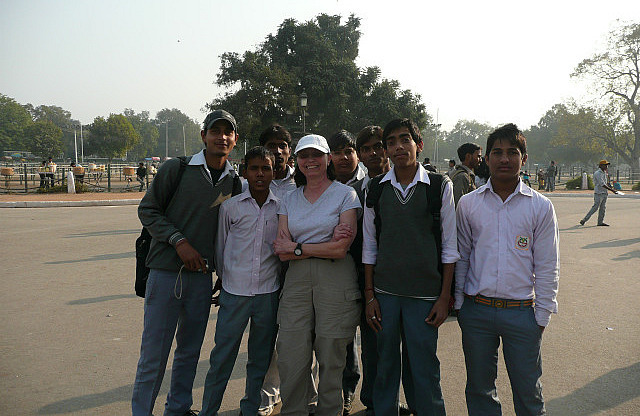 School boys wanting to have photo taken with me