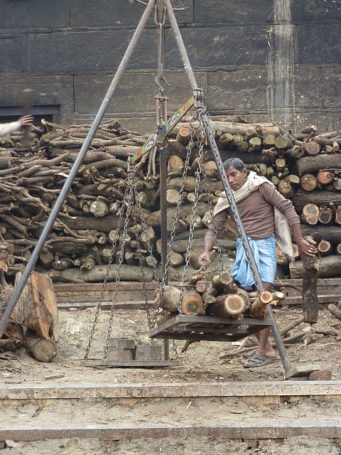 Weighing wood for burning pires