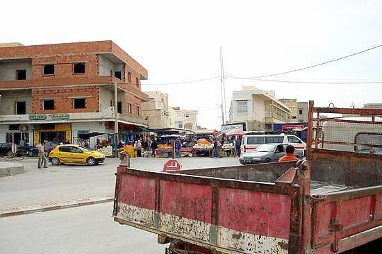 Kairouan Street Scene Near Louage Station