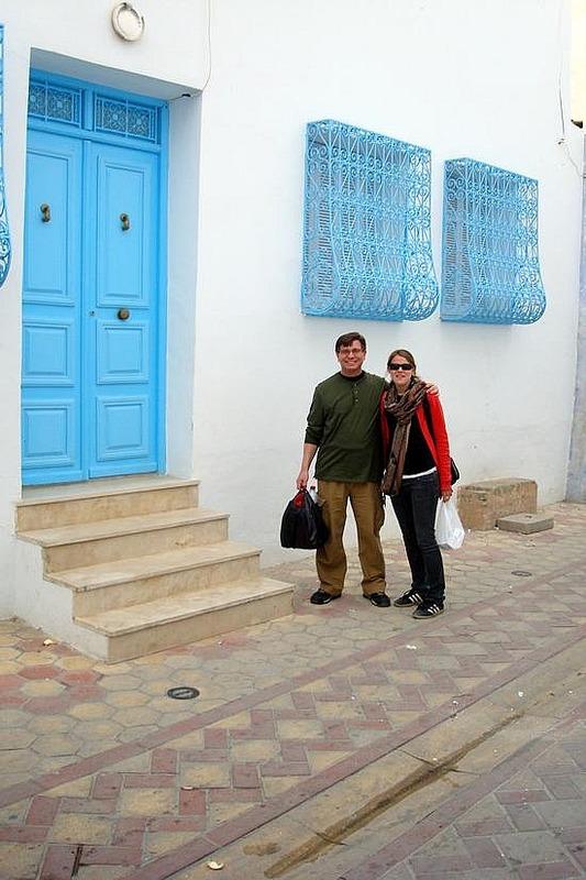 Blue and White Entranceway