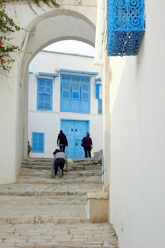 Sidi Bou Said winding uphill stairs