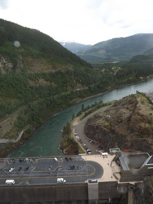 Looking down from observation deck on Revelstoke Dam
