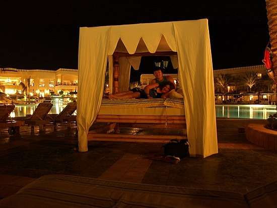 Beds by the pool