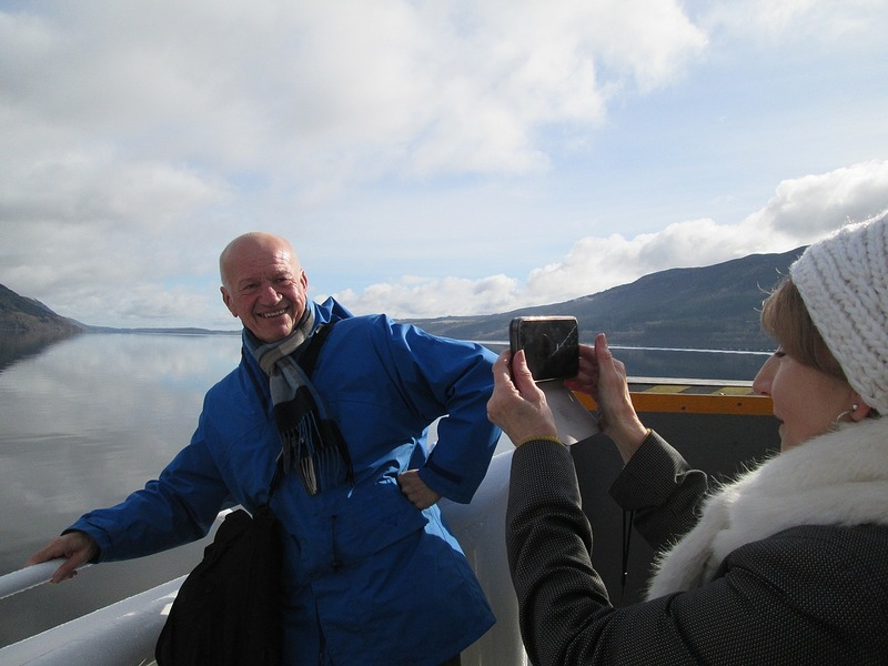 Ann takes a picture of Martin on Loch Ness