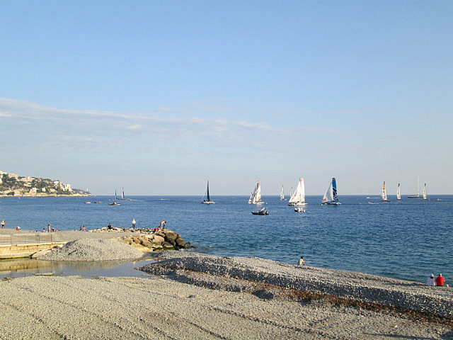 Sailboat races on the Baie des Anges