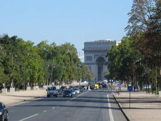 Approaching the Arc du Triomphe