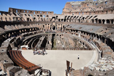 Imagine the gladiators being winched up from below