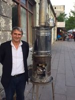 Large Samovar on Pavement & Proud Owner