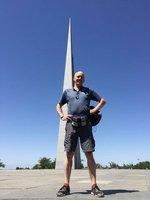 AG in front of Reborn Armenia Memorial