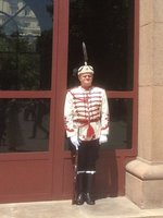 Well Would You Want to Wear a Hat with an Eagle Feather? Soldier Guarding Government Buildings