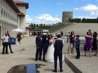Rabati Fortress is Popular Venue for Weddings. An Ambulance Arrives Behind to the Rescue
