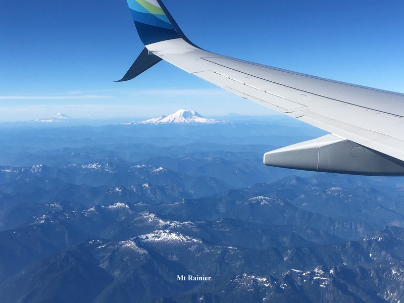 Mt Rainier from flight into Seattle
