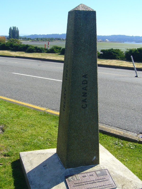 border marker at Peace Arch