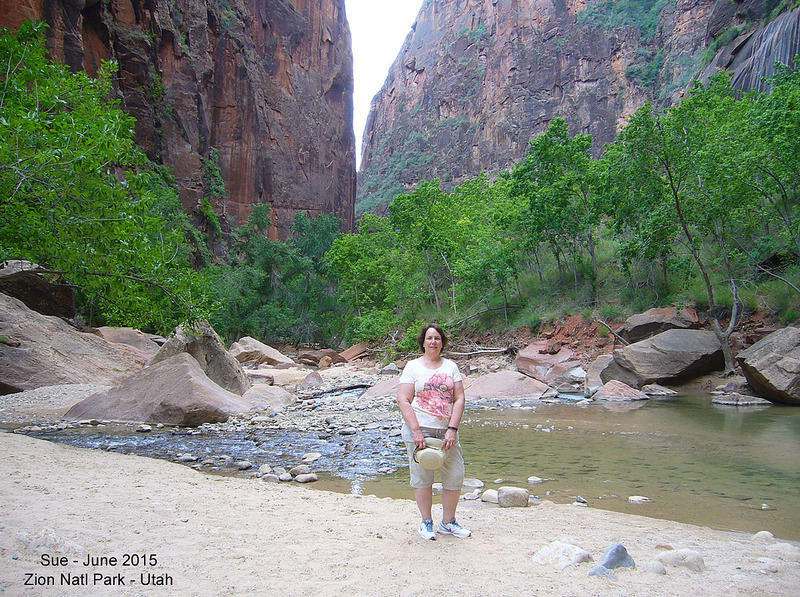Sue at the end of the River Walk in Zion Natl Pk