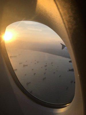 Boats at anchor off Singapore