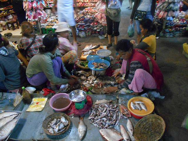 Fish day among the shoe stalls at Old Market