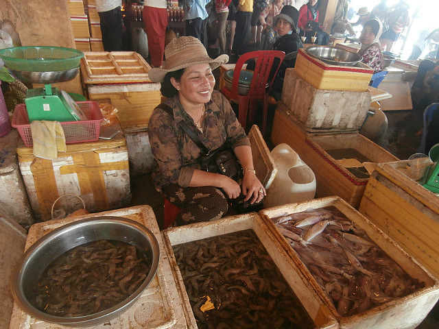 Seafood seller at Kep Crab Market