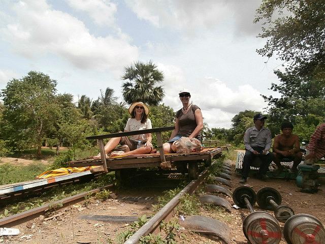 On the famous bamboo railroad Battambang