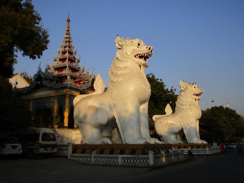 Giant Lions at Mandalay Hill Pagoda