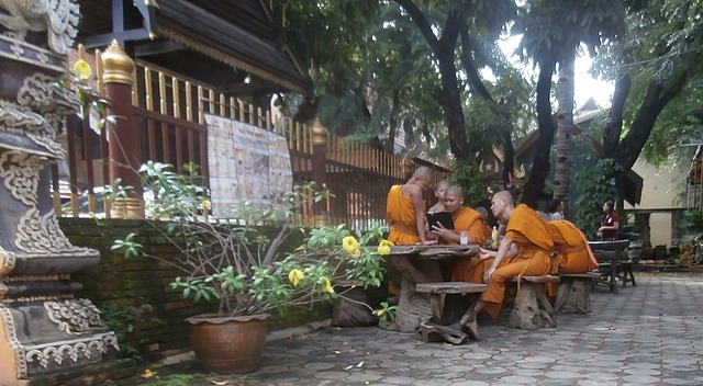 Monks on their tablet