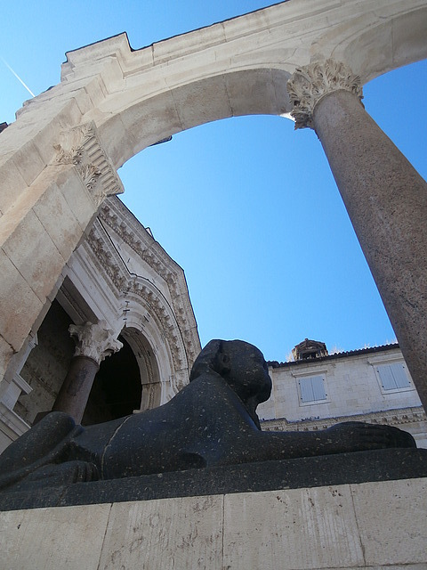 The sphinx outside Diocletian's mausoleum
