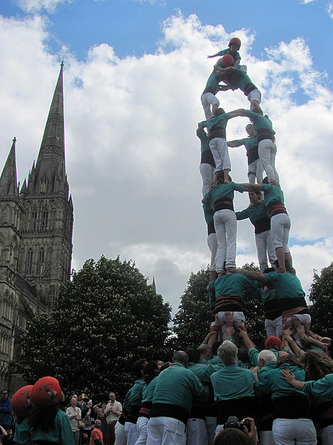 Human tower and bell tower
