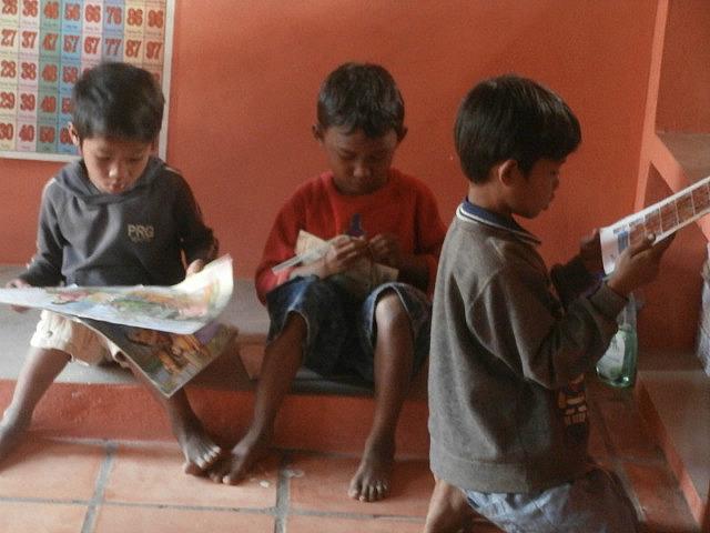 Boys in the libary