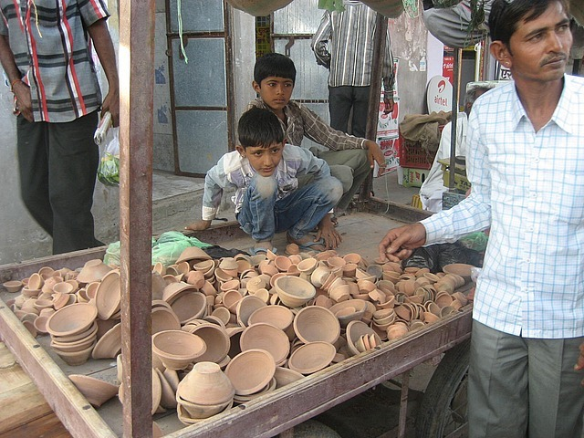 Stall selling the clay pots