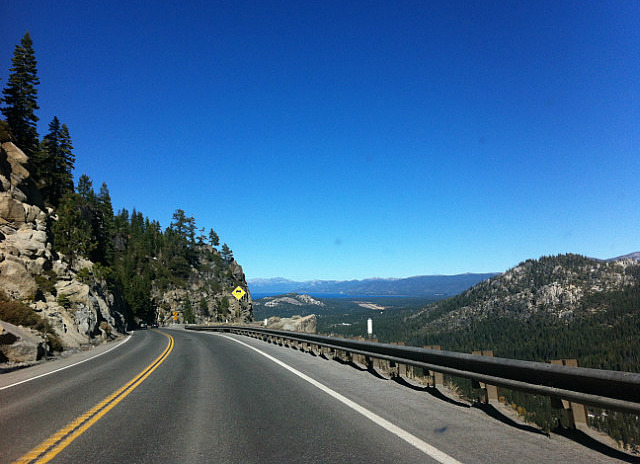 Lake Tahoe coes into view