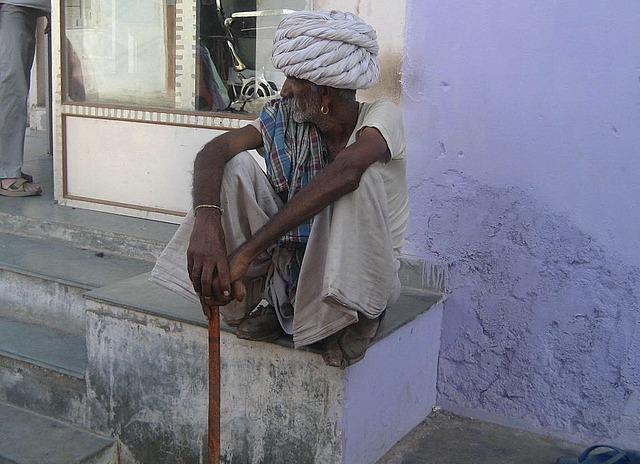 Old man in village