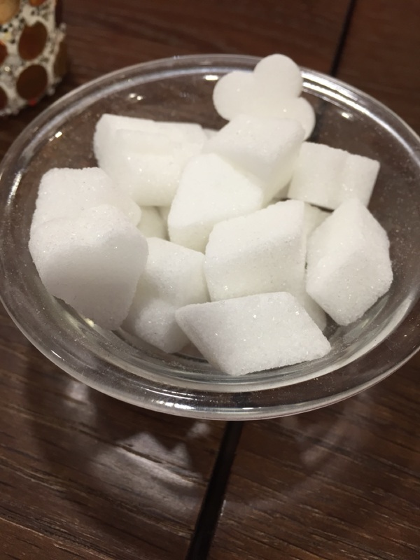 Sugar cubes like card suits