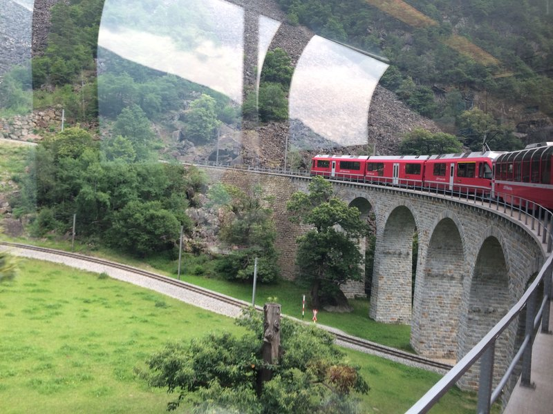 The Bernina train going over a via duct
