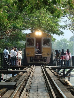 Kburi - train on the Bridge over the River Kwai