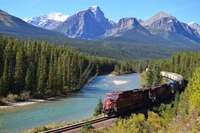 CPR train at Morant's curve near Lake Louise