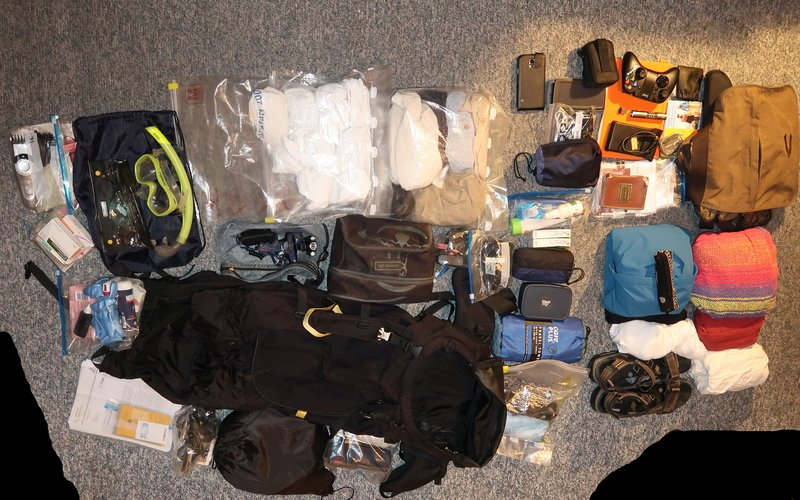My backpack and its contents at the beginning of the trip. That changed a bit in the course of my travel.
