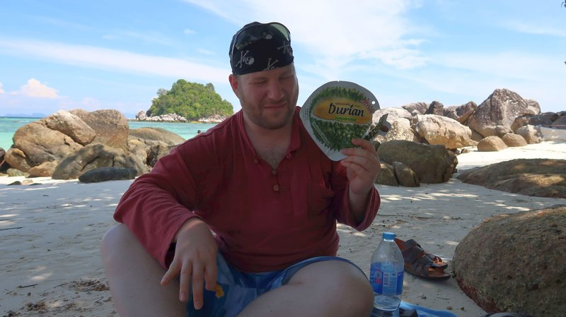 Enduring the Durian in Koh Lipe, Thailand.