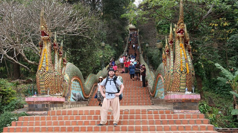 The stairs leading up to Wat Phrathat Doi Suthep, Chiang Mai, Thailand.