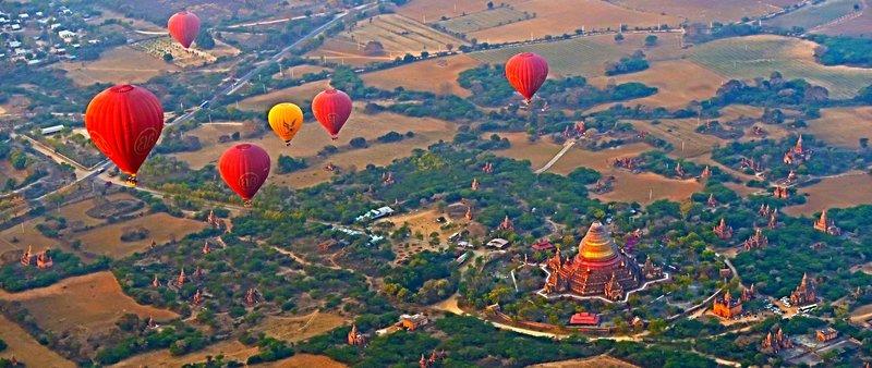 Hot air balloon ride over Bagan, Myanmar.