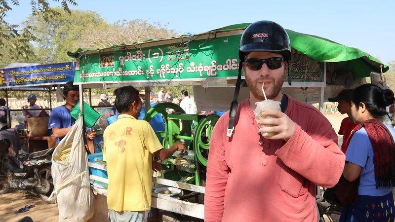 Fresh sugar cane juice in Bagan, Myanmar.