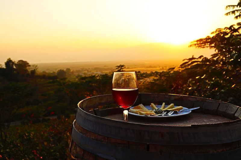 Red wine and a cheese plate in the sunset (blue cheese and some hard cheese-very yummy) at the Red Mountain Estate, Inle Lake, Myanmar.