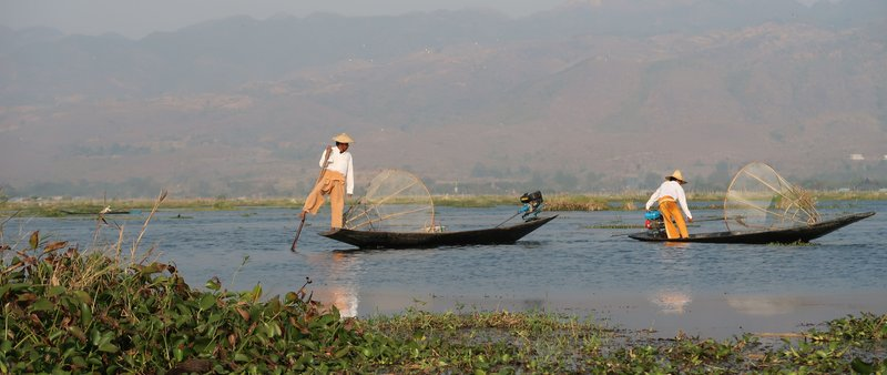A boat tour on Inle Lake, Myanmar, always passes by the fisher men.